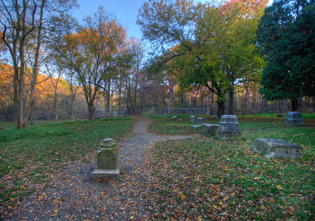Unlike its haunted reputation, Bachelor Grove Cemetary appears peaceful in the evening light.