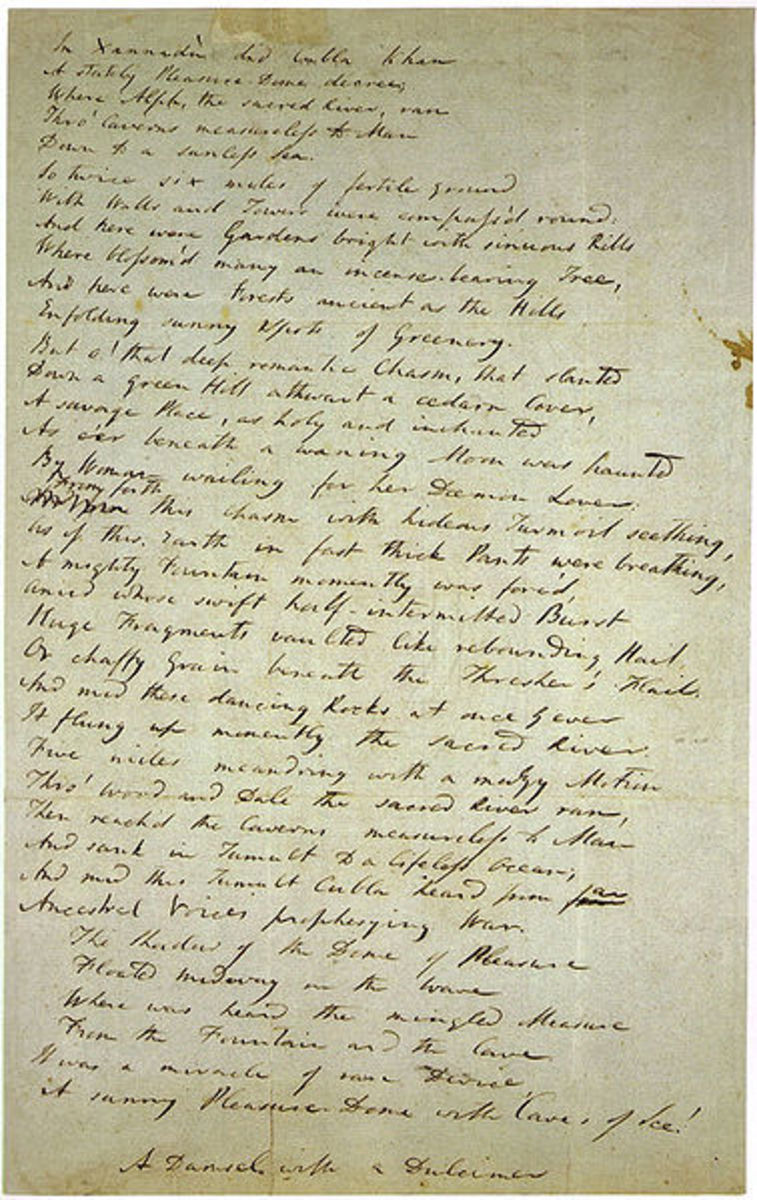 "Coleridge's draft of ""Kubla Khan"""