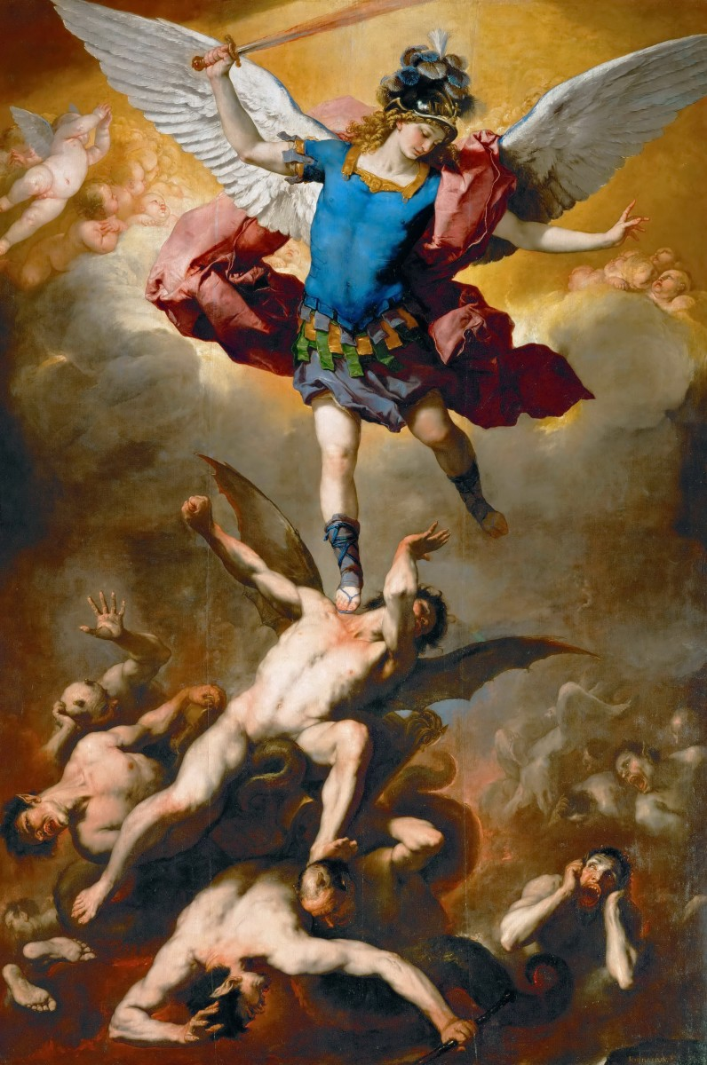 A depiction of the archangel Michael casting out the angels who defied God.
