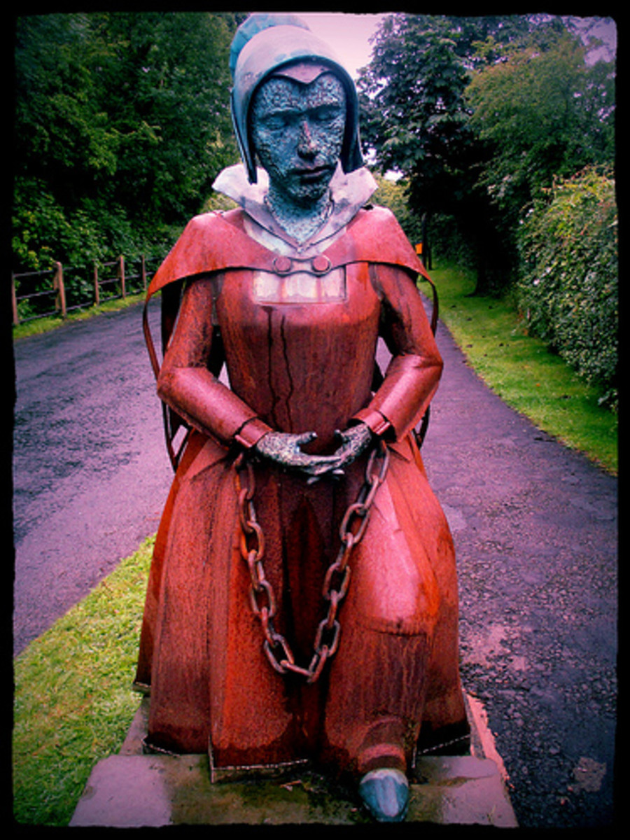 A statue of Alice Nutter who got caught up in the witch hunt. Almost certainly, she had nothing to do with casting spells but committed the sin of being a practicing Catholic.