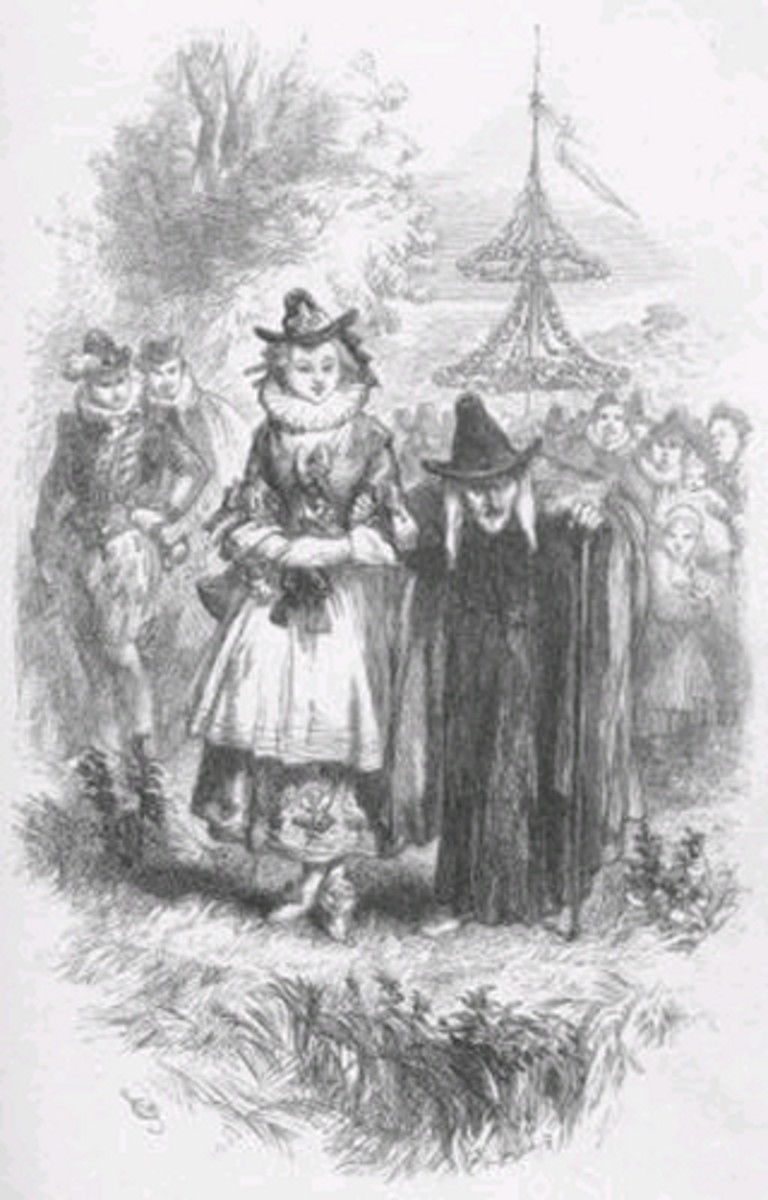 Two of the Pendle witches as illustrated in the novel The Lancashire Witches, published in 1849.