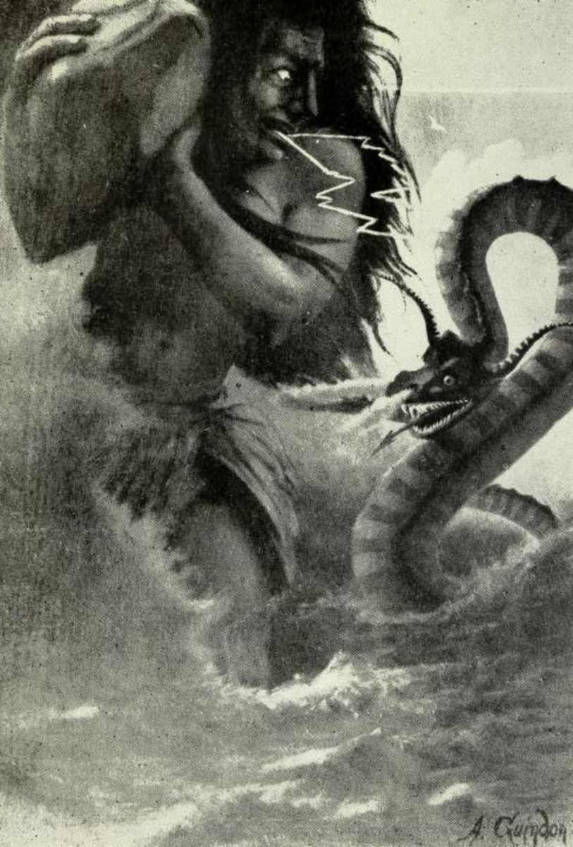 Oniare, the horned water serpent, battles the thunder god Hinon in Iroquois myth. From En Mocassins by Arthur Guindon, 1920.