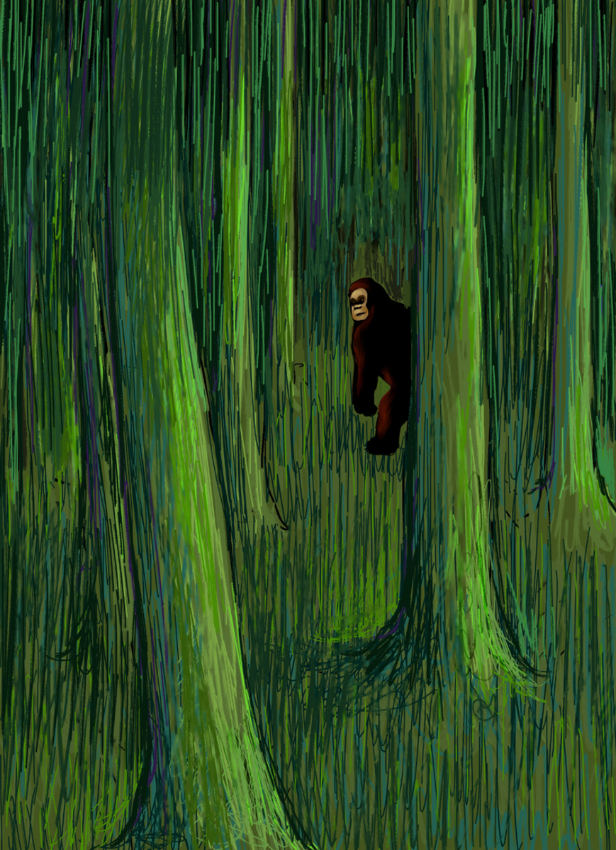 """Bigfoot in the woods"" - an artist's rendition of Bigfoot."