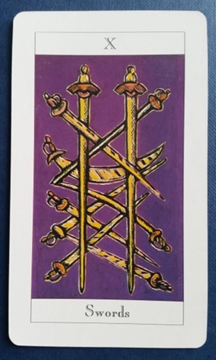 The Ten of Swords from my Tarot deck