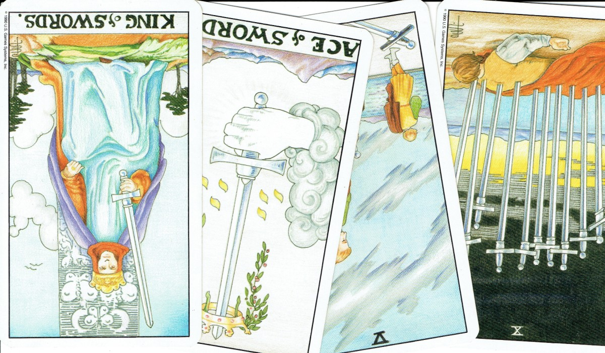 The suit of Swords from the Rider-Waite Tarot
