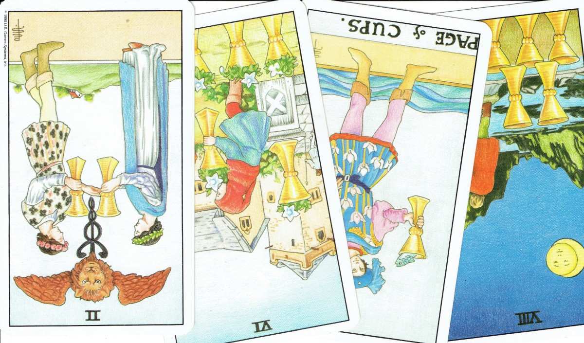 The tarot Cups: reversed/upside-down cards