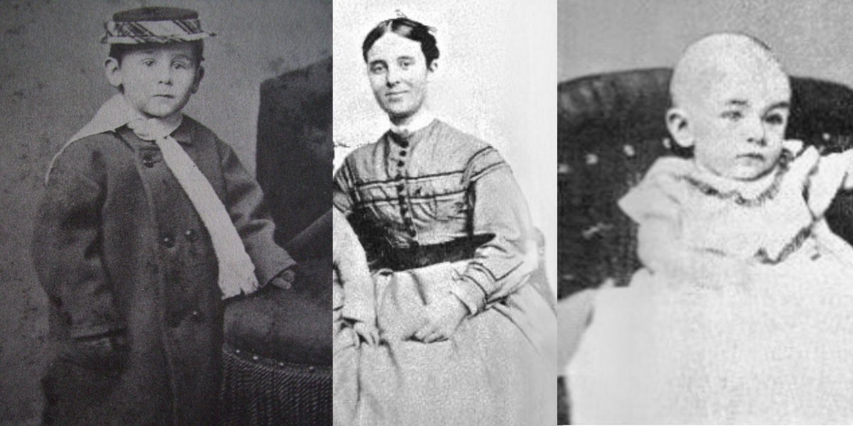 The Briggs family. Pictured are Benjamin's wife Sarah Cobb and daughter Sophia who were with him aboard the ship and his son, who was left behind.