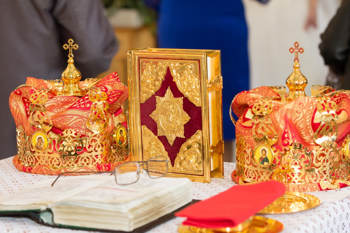 Crowns at an Orthodox wedding where both the bride and groom are crowned as king and queen of the home and life they'll create together.