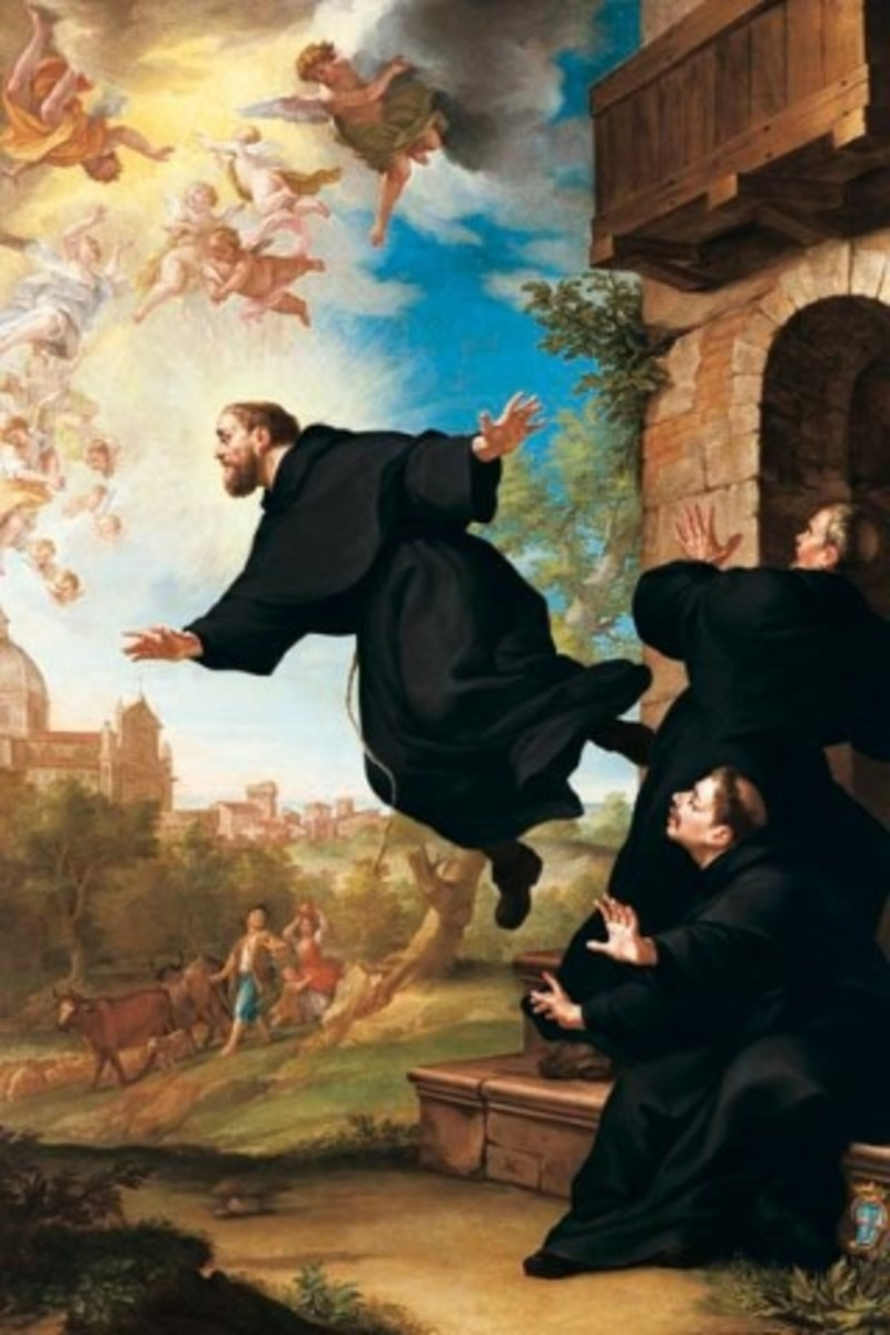St. Joseph of Cupertino is lifted in flight at the site of the Basilica of Loreto,  by Ludovico Mazzanti (18th century)