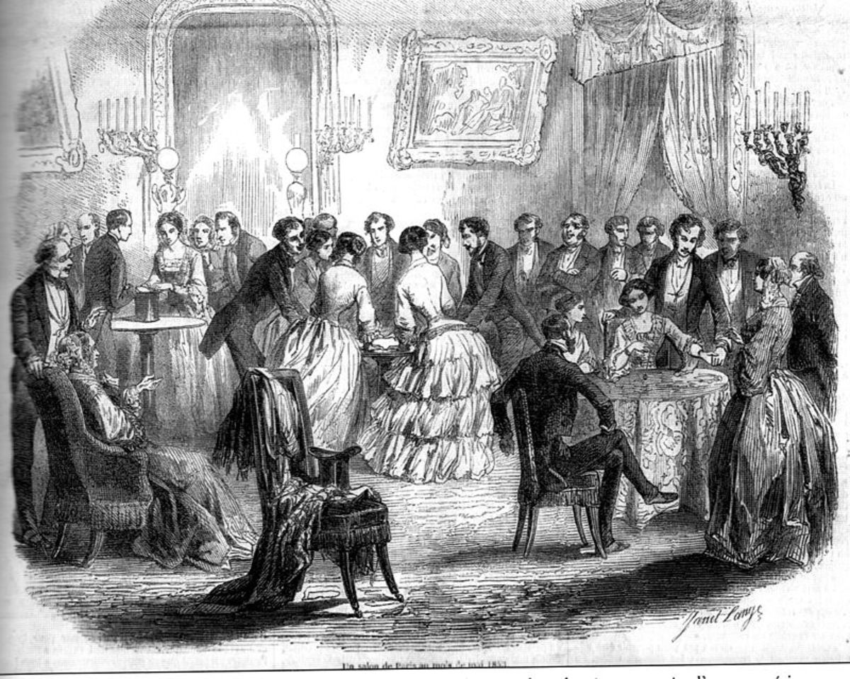 """In 19th century France, a gathering is amused by the phenomenon of """"spirit-guided"""" table turning."""