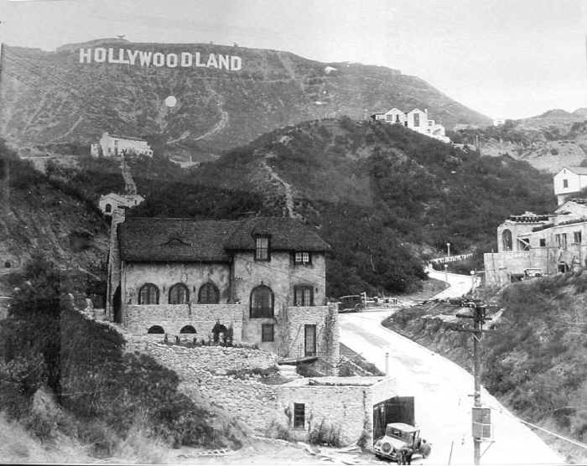 Hollywood sign and one of the early houses