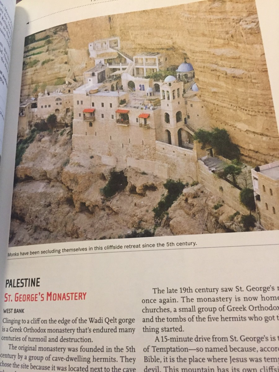 This sample entry features a Monastery in Palestine, built into a cliff.