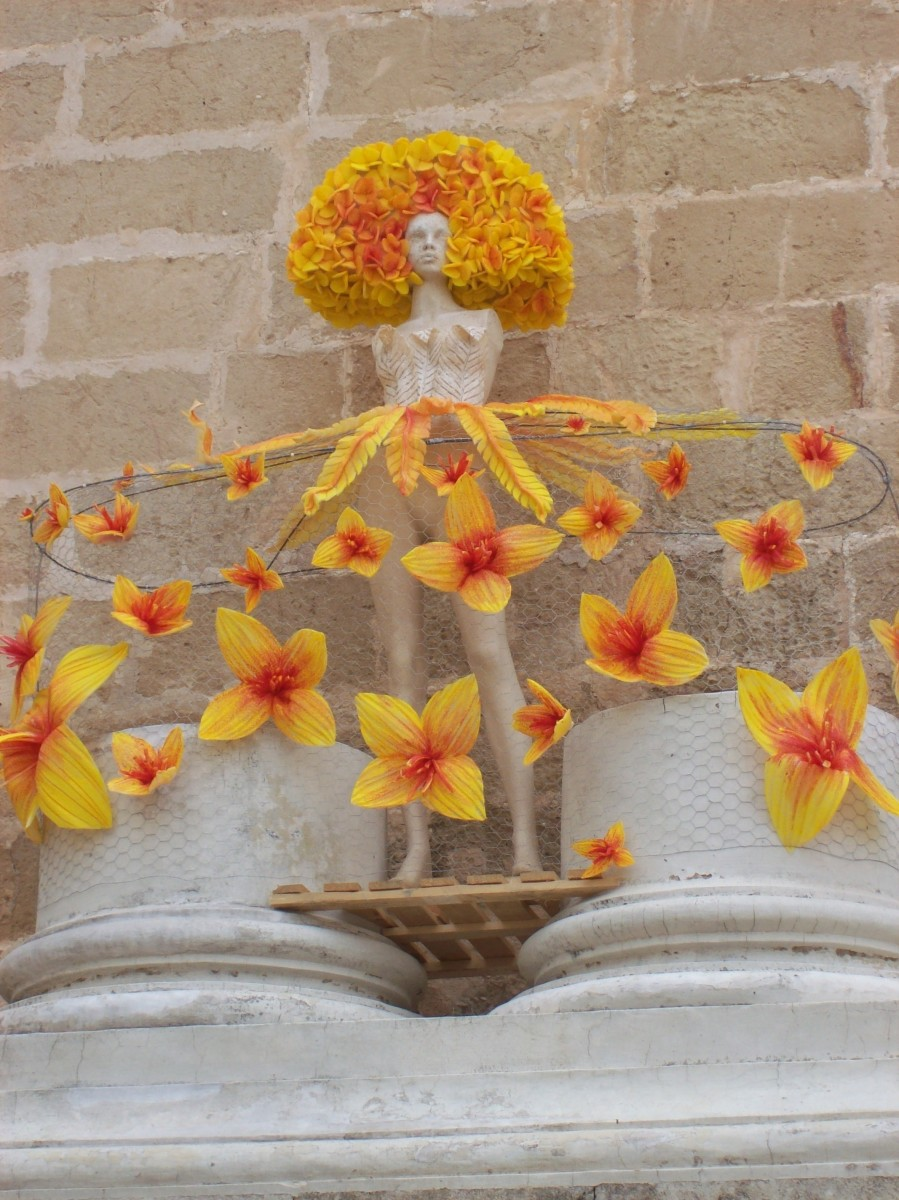 Mannequin with flowers outside of Mahon church.