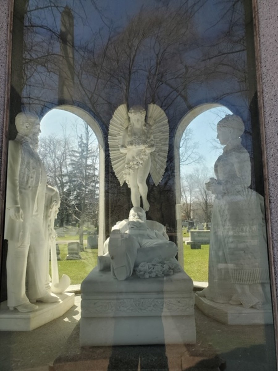 The Blocher Mausoleum inside Forest Lawn. The tomb is underneath the memorial.