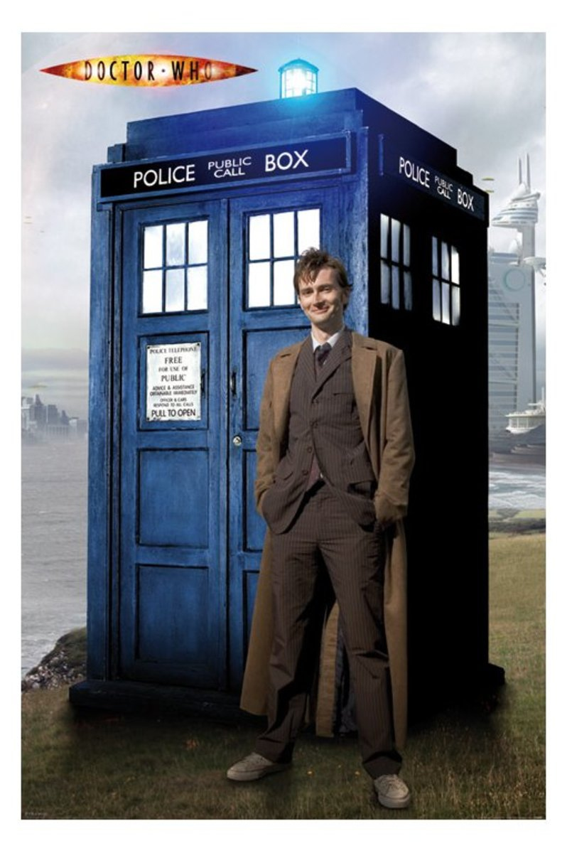 A recent 'Doctor' played by David Tennant with the Tardis
