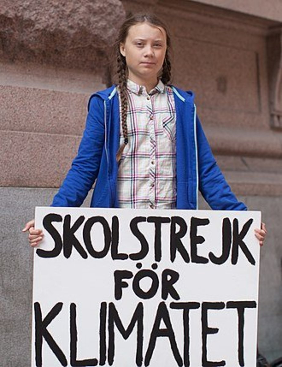Greta Thunberg holds a sign urging school children to strike for the climate