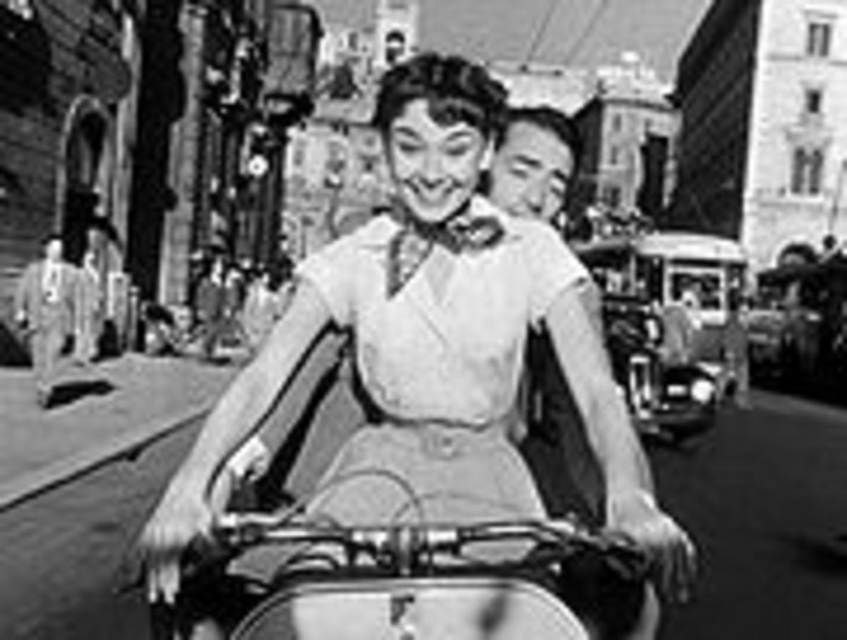 "Hepburn and co-star Gregory Peck in her first Hollywood film ""Roman Holiday"""
