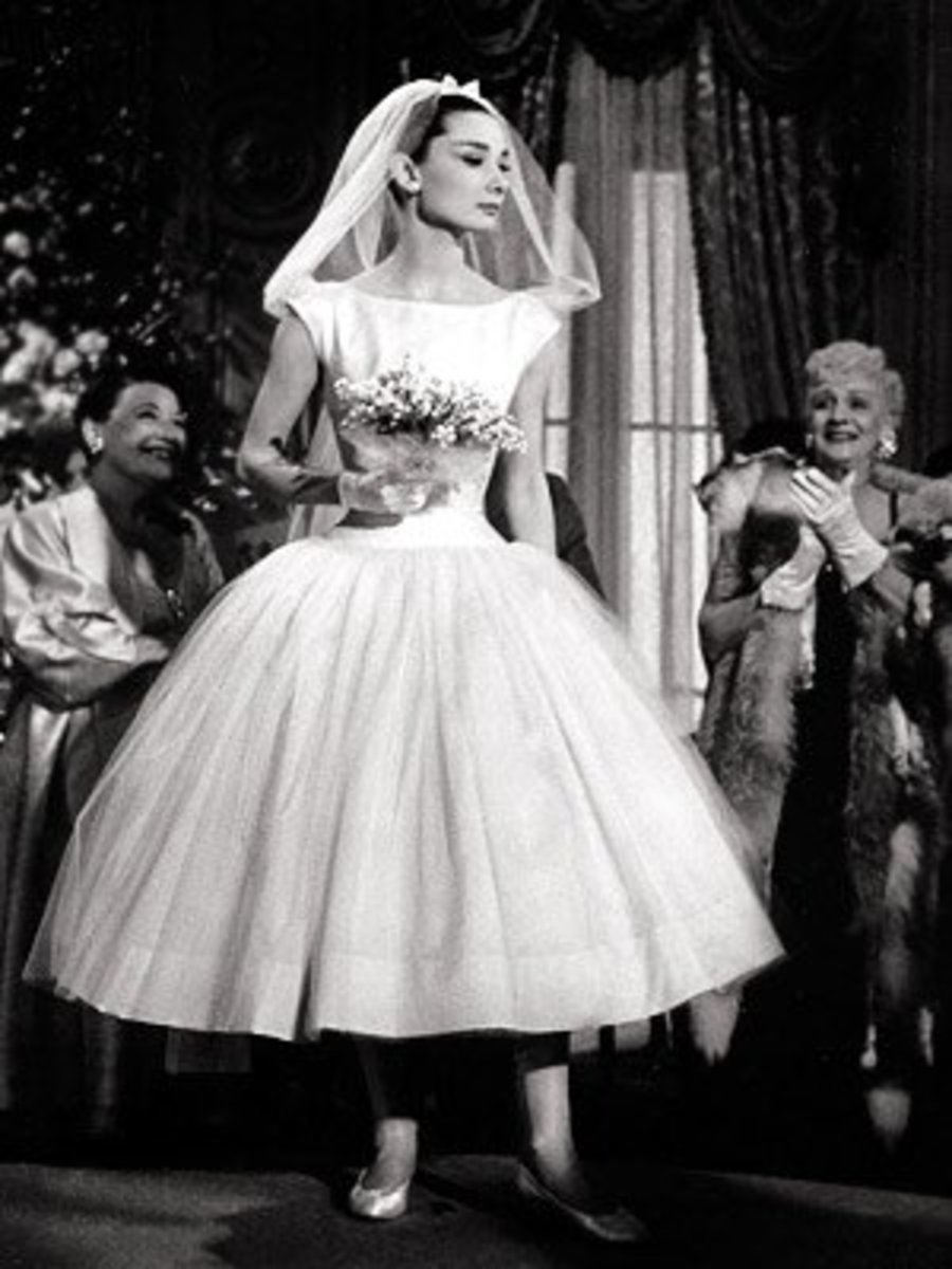 "Hepburn in a wedding gown in ""Funny Face"""
