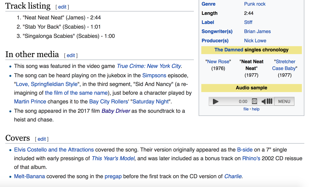 "A look at a typical Wikipedia page for a song, in this case ""Neat Neat Neat"" by The Damned. You can see that this song was featured in the movie Baby Driver."