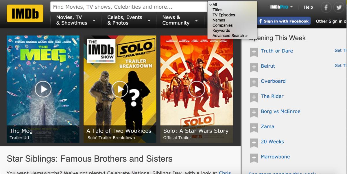 The IMDb homepage