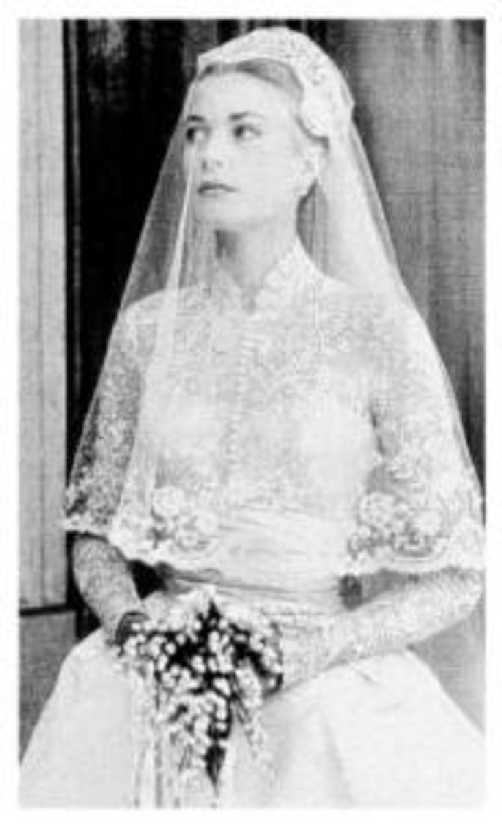 Grace Kelly was resplendent in her custom bridal gown.