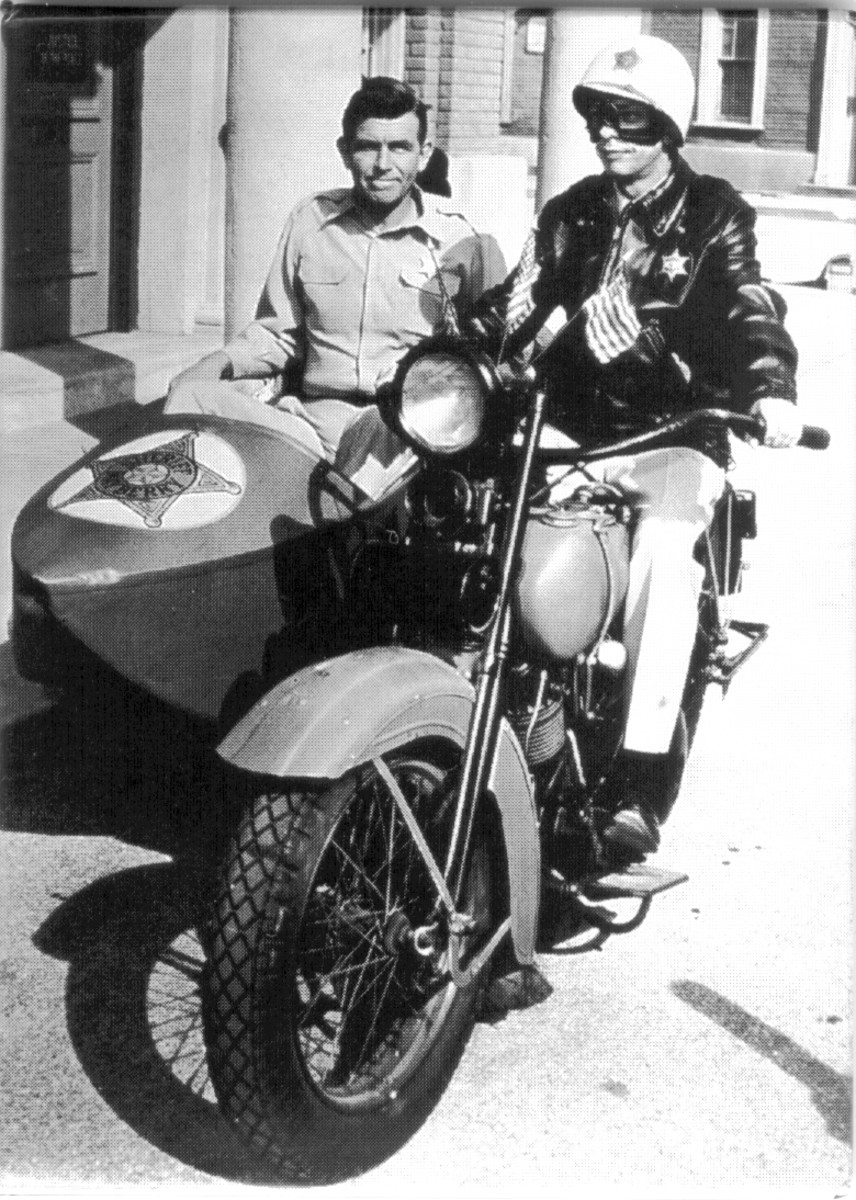 SHERIFF ANDY TAYLOR GETS A RIDE IN DEPUTY BARNEY FIFE'S SIDECAR