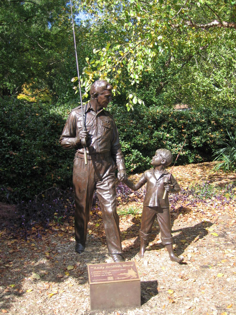 """MAYBERRY"" STATUE OF ANDY AND OPIE TAYLOR STANDS IN MOUNT AIRY, NORTH CAROLINA"