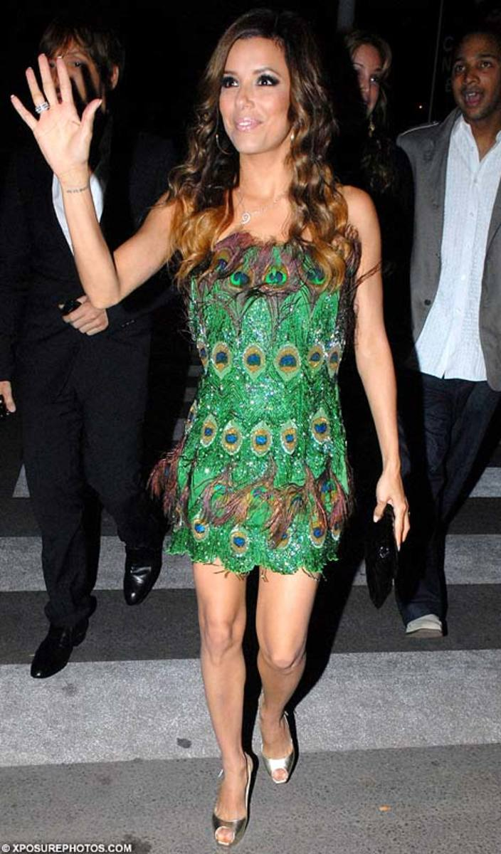 Eva Longoria in Green Peacock Feather Short Dress