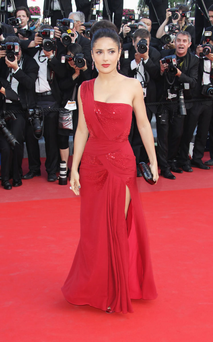 Salma Hayek in Red Evening Dress