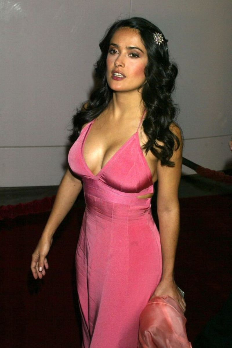Salma Hayek in Pink Evening Dress