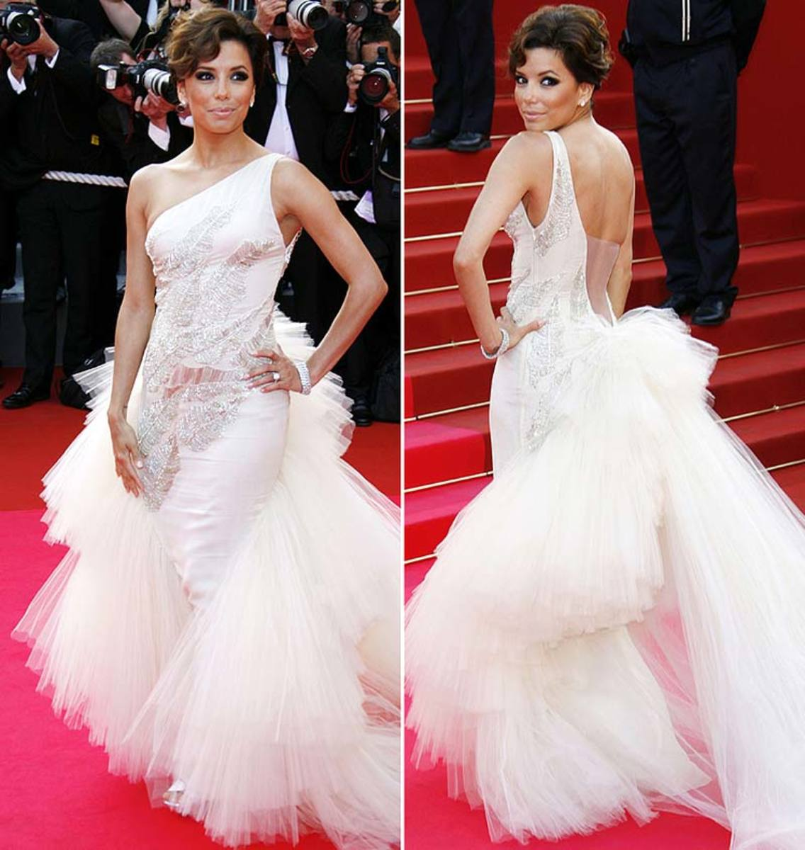 Eva Longoria in White Evening Dress with Long Train