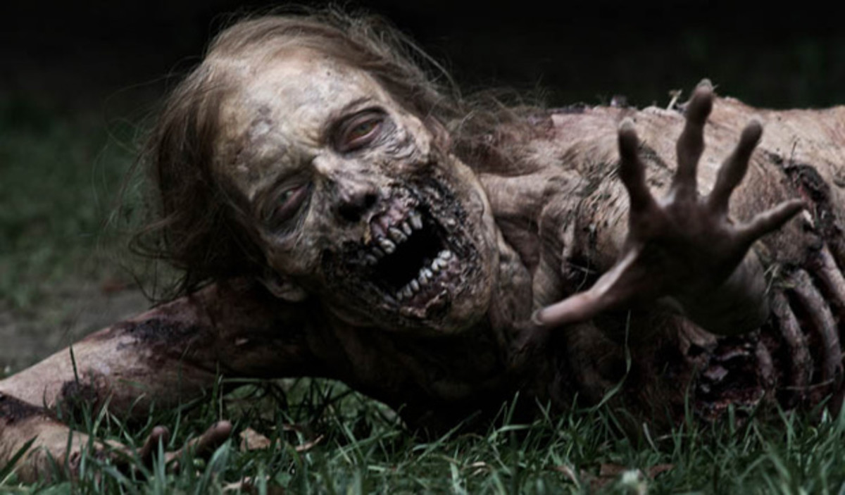 Modern zombie female going about her daily business