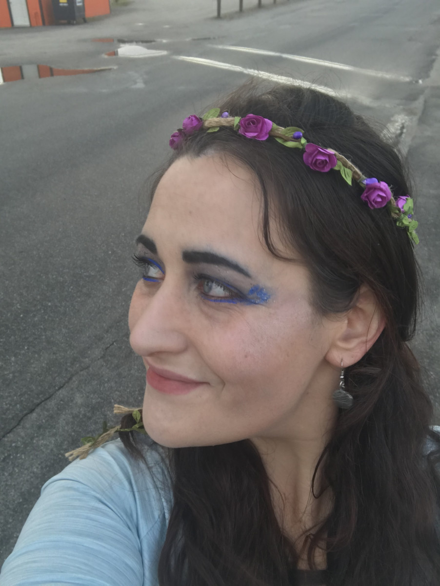 Keep in mind, I was awake all night and watched the sunrise, so I don't exactly look my best! But I played the part of the Priestess during ritual, and wearing the crown of flowers made me feel even more magical!