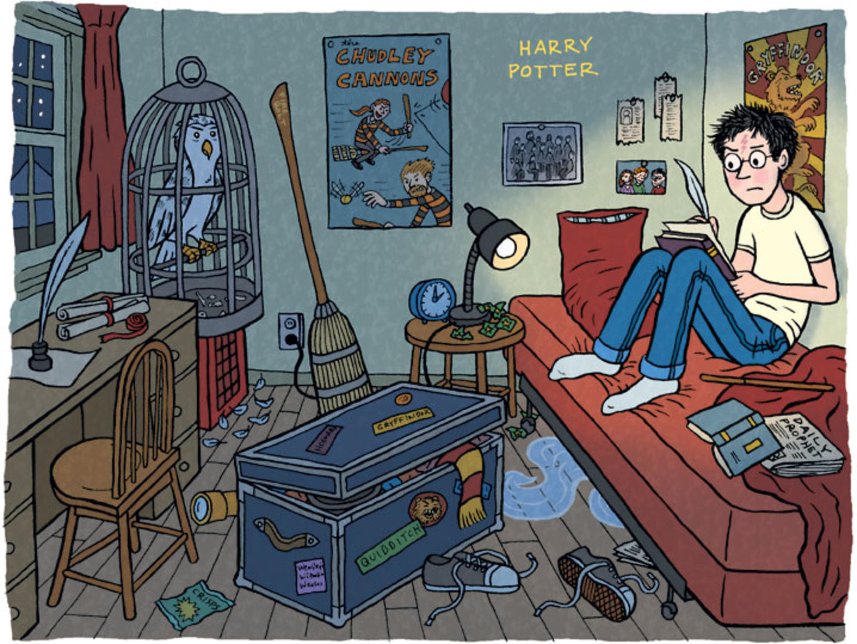 Harry Potter in hi room at the Dursleys.
