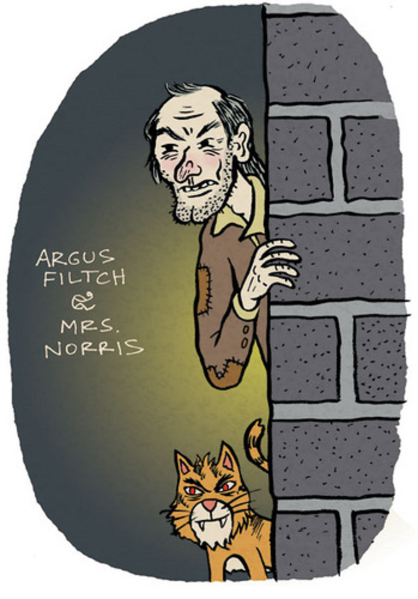 Argus Filch with his cat Mrs. Norris