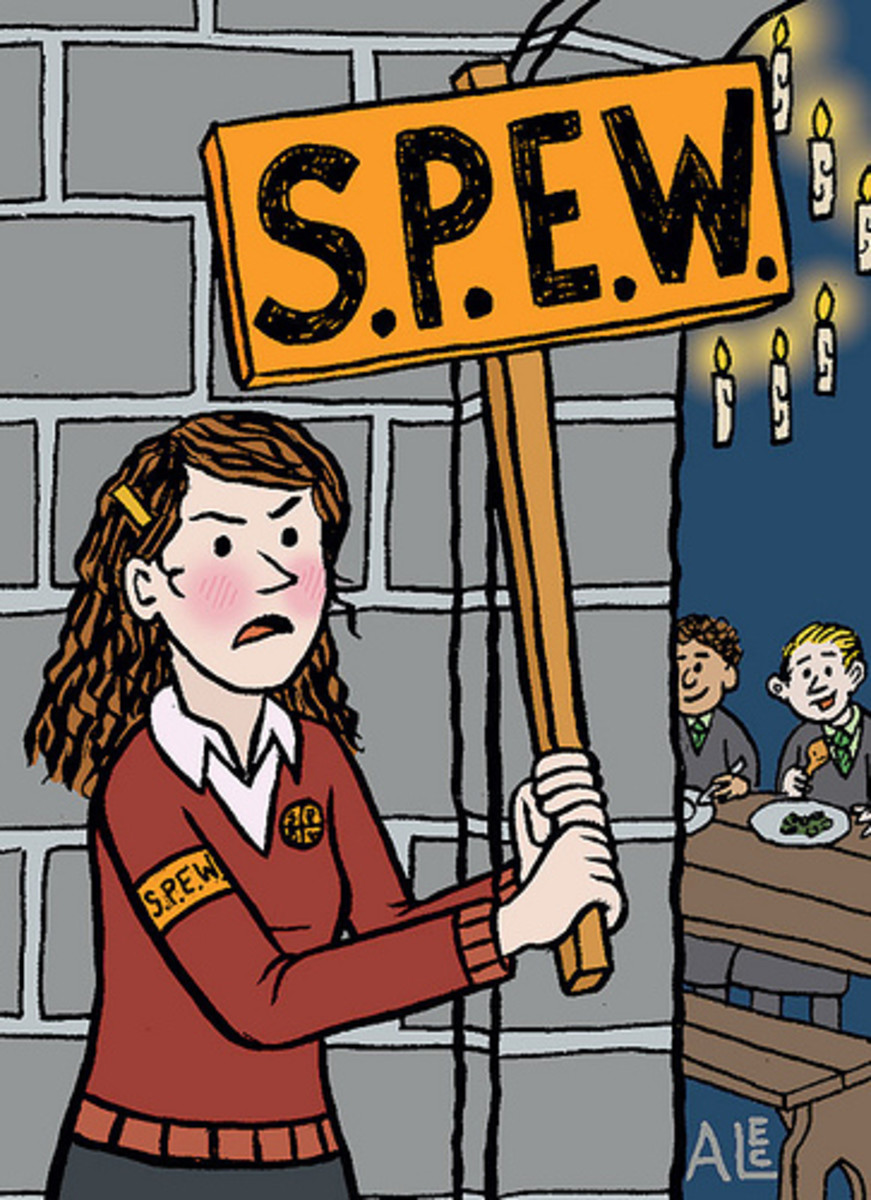 Hermione with a SPEW banner.