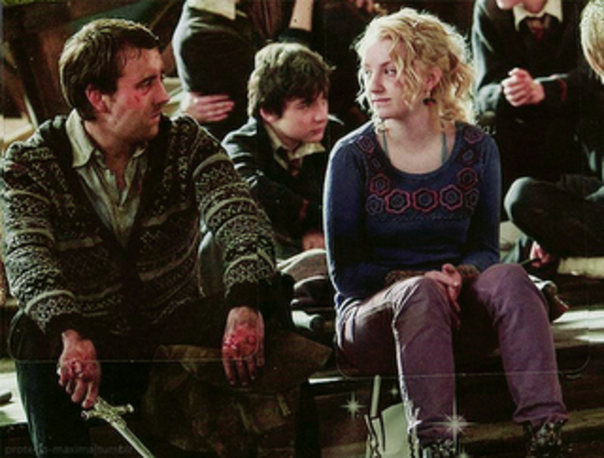 Neville and Luna sharing a moment after the battle at Hogwarts in Deathly Hallows Part 2.