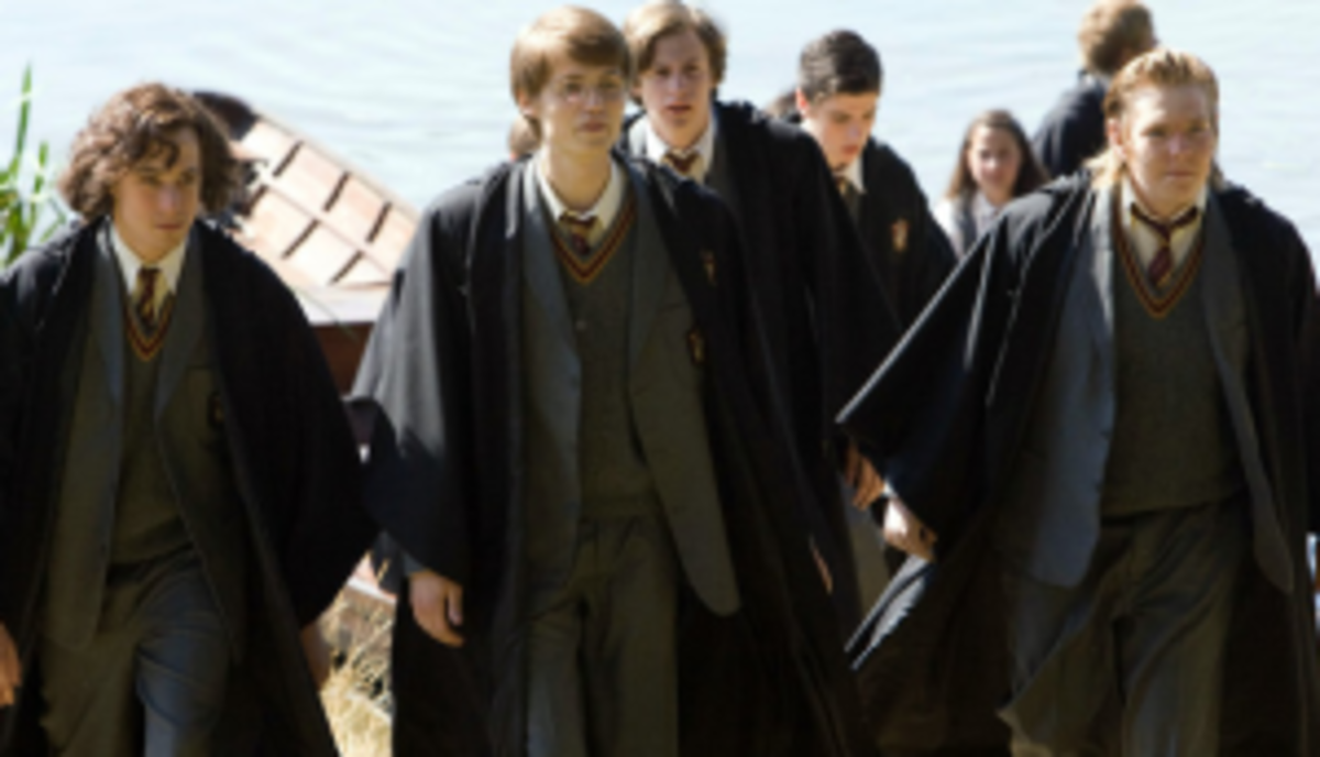 The Marauders at Hogwarts. Left to Right: Sirius Black, James Potter, Remus Lupin and Peter Pettigrew.
