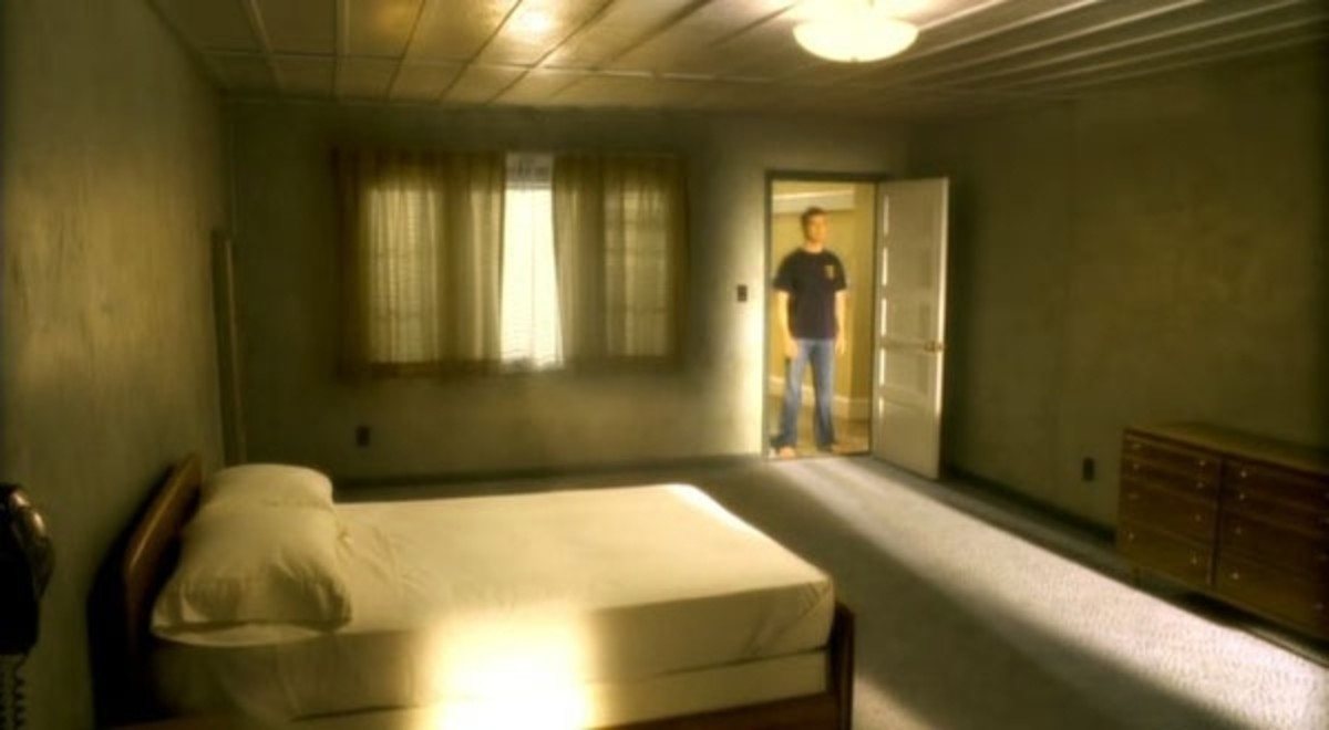 It looks like an innocent enough hotel room...even clean...I don't see a TV...