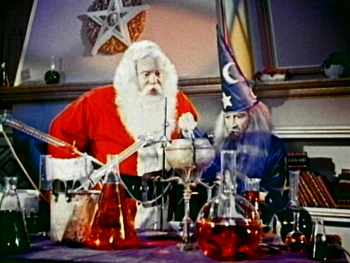 Creepy Santa with Merlin the Wizard...