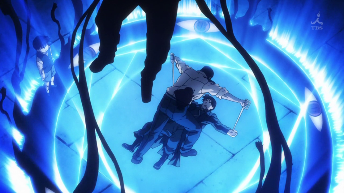 Roy Mustang is cut through the palms of his hands.