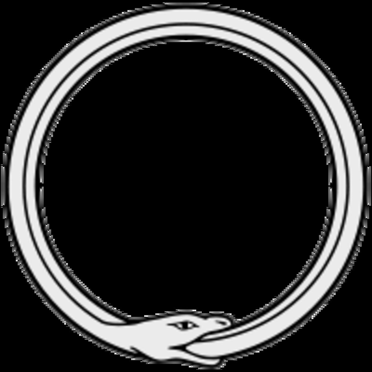 A traditional Ouroboros depiction.
