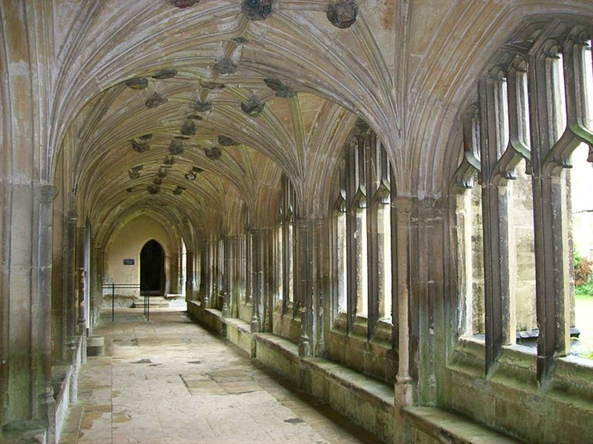 The cloisters at Lacock Abbey date from the 13th century and recently starred in that 21st century phenomenon, Harry Potter.