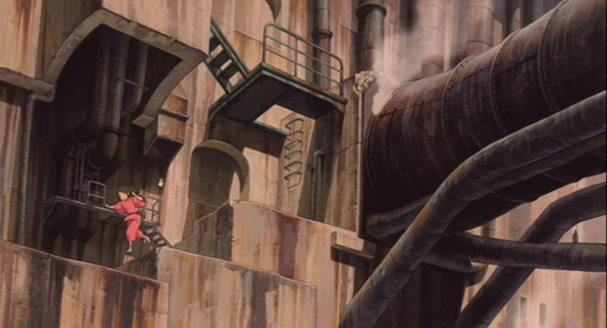Though the front of Spirited Away's bathhouse reflects Japanese folklore, the back of it has some  steampunk influence going on.