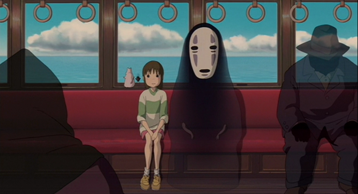 This famous still from Spirited Away, reminiscent of the one from Totoro, illustrates loneliness and nervousness.