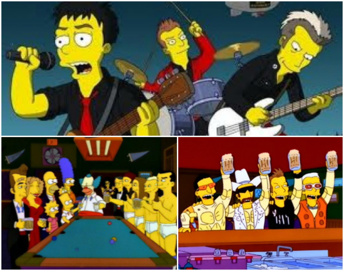 Top: Green Day, bottom left: Red Hot Chili Peppers, bottom right: U2