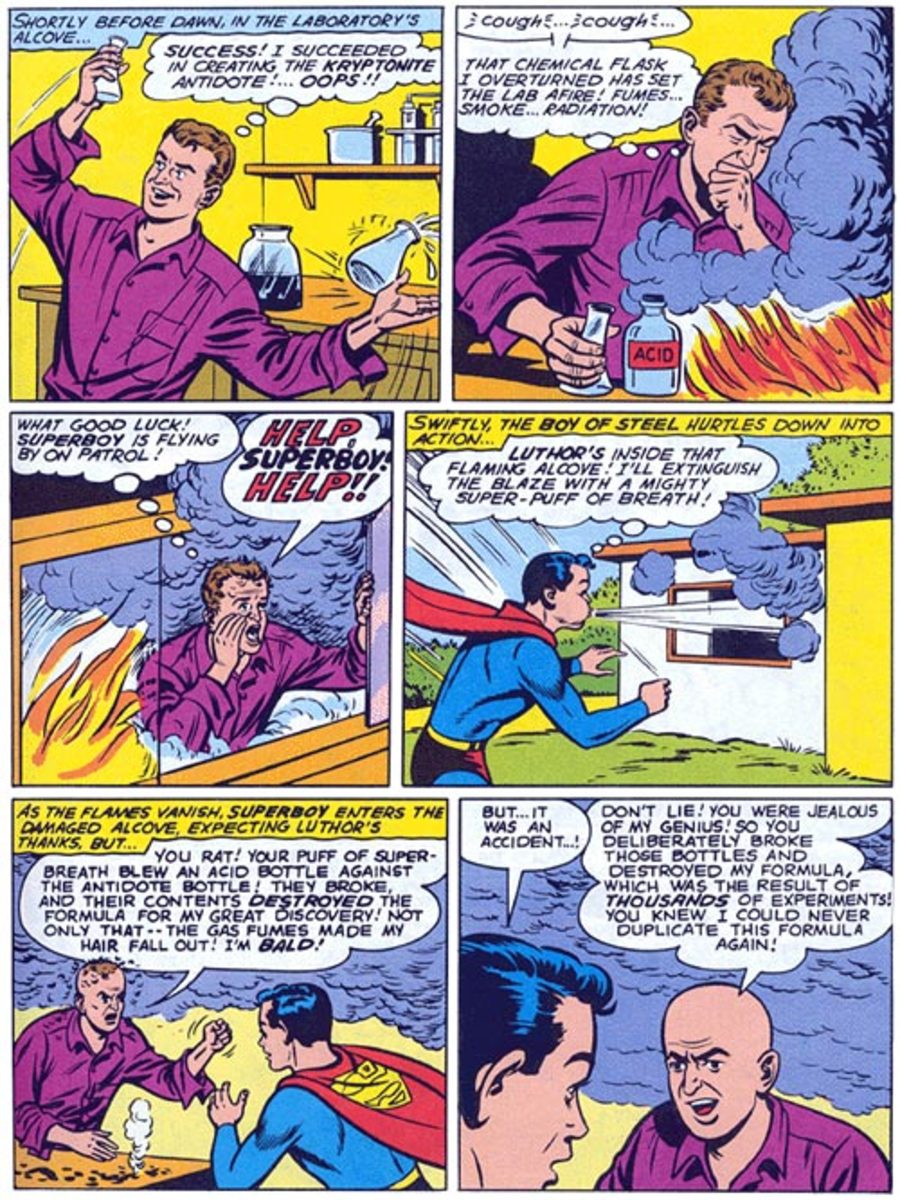 Lex blaming Superboy for his hairloss