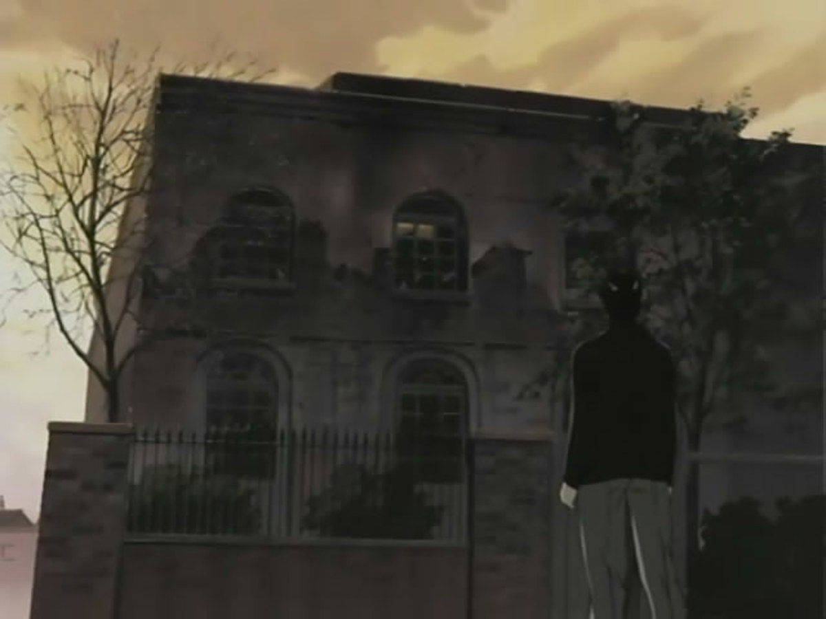 Tenma stands outside the derelict building that was once Kinderheim 511.