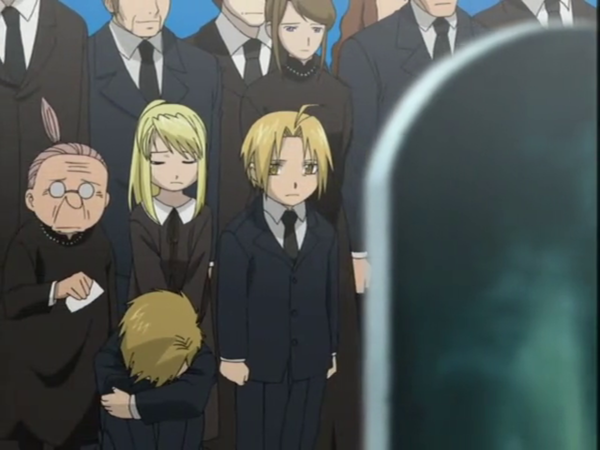 The brothers, their friend Winry, and all of Resembool mourn the death of Trisha Elric.