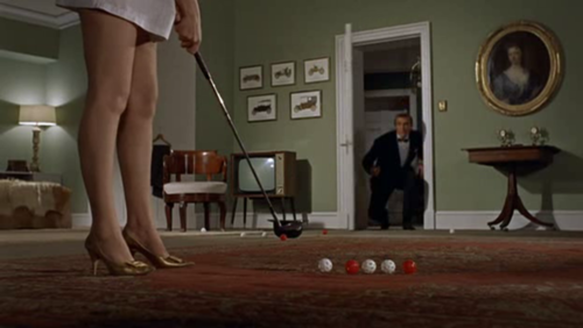 Bond's sombre apartment in Dr No, complete with a shapely pair of legs.